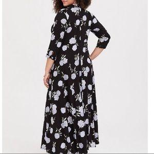Black Floral Maxi Dress 3/4 Sleeves